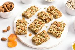 Barra di nutrizione, granola fotografia stock