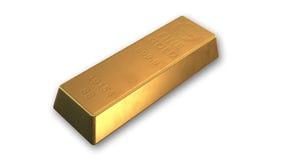 Barra di oro, metallo prezioso isolato su bianco Immagini Stock Libere da Diritti