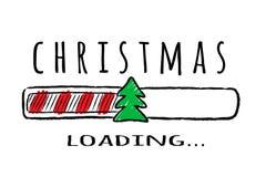 Barra do progresso com inscrição - carga e abeto do Natal no estilo esboçado ilustração stock