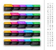 Barra do progresso de cinco etapas no encabeçamento da cor do arco-íris Fotografia de Stock