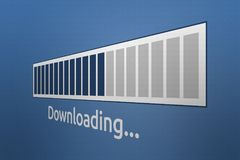 barra do progresso do fazendo download do close-up 3D com fraseio do fazendo download fotografia de stock