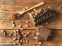 Barra do sabão do chocolate e das barras do sabão imagens de stock