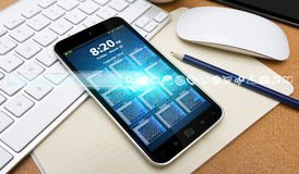 Barra e ícones modernos da Web sobre o telefone celular Foto de Stock Royalty Free