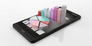 barra e diagrammi a torta della rappresentazione 3d su uno Smart Phone Fotografia Stock Libera da Diritti