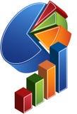 Barra e gráfico de sectores circulares Fotos de Stock