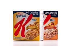 Barra especial del alimento de Kellogg's K Imagenes de archivo