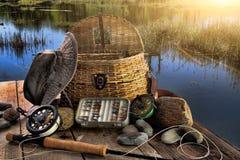 Barra fly-fishing tradicional en última hora de la tarde Foto de archivo libre de regalías