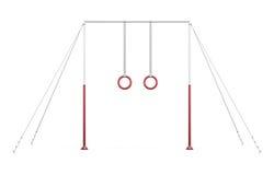 Barra horizontal com anéis em cordas no fundo branco rende 3D ilustração do vetor
