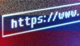 Barra https://www do endereço do navegador contra a bandeira do russo Fotografia de Stock Royalty Free