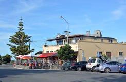 Barra iconica di Sumner, Dwayne Johnson un giorno di Autumn Christchurch Immagine Stock