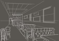 Barra interior linear do esboço no fundo cinzento Imagens de Stock Royalty Free