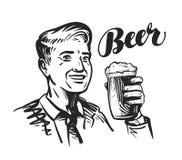 Barra o pub della birra Uomo sorridente felice con la tazza di birra inglese fresca Illustrazione di vettore Fotografia Stock Libera da Diritti