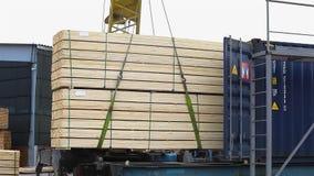 A barra ordenadamente agrupada da madeira é carregada em um trem de mercadorias vídeos de arquivo
