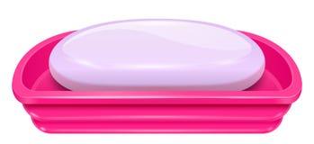 Barra porpora fragrante del sapone sul bacino rosa di plastica illustrazione di stock