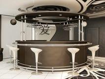 Barra redonda com as cadeiras eretas no interior foto de stock