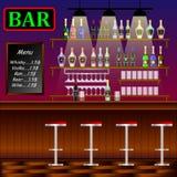 Barra, restaurante con el contador Bandera del interior con el contador de la barra, las sillas del pub y los estantes con alcoho stock de ilustración