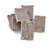Barra rotta del cioccolato al latte isolata su fondo bianco Immagine Stock Libera da Diritti