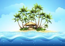 Barra tropicale del bungalow con la palma Fotografia Stock