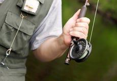 Barra y carrete de pesca de mosca Fotos de archivo libres de regalías