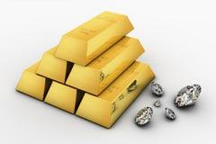 Barra y diamantes de oro Imágenes de archivo libres de regalías