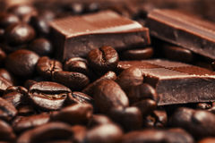 Barra y especias quebradas de chocolate Fotos de archivo