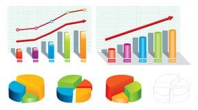 Barra y gráfico de sectores Fotografía de archivo libre de regalías