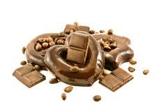 Barra y torta de chocolate Foto de archivo libre de regalías