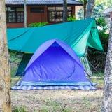 Barraca azul da abóbada para acampar fotos de stock royalty free