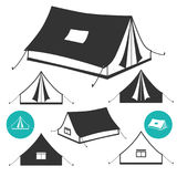 Barraca de acampamento em 3D, isométrico ilustração stock