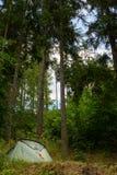 Barraca de acampamento em uma floresta, acampamento do verão, férias em família da aventura Foto de Stock