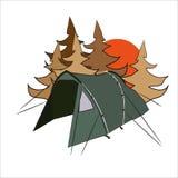 Barraca na floresta ilustração stock