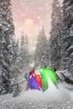 Barraca na floresta coberto de neve Foto de Stock Royalty Free