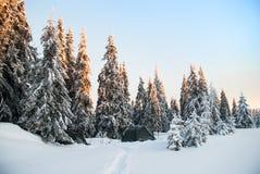 Barraca nas montanhas Manhã do inverno Fotografia de Stock Royalty Free