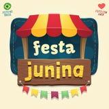 Barraca temático fresca do partido de junho do brasileiro com logotipo de madeira do sinal Imagens de Stock