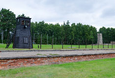 Barrack ruins and border tower in concentration camp Stutthof Stock Photos