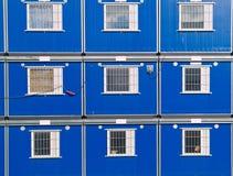 Barracks. Blue barracks on a construction site Royalty Free Stock Image
