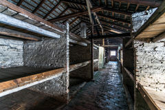 Barracks of the Nazi concentration camp Auschwitz Bi Royalty Free Stock Photos