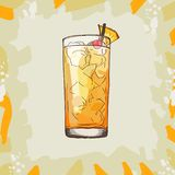 Barracuda Hard Contemporary classic cocktail with gold rum, Galliano, pineapple juice, lemon and dry wineillustration. Alcoholic vector illustration