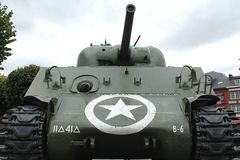 Barracuda Sherman Tank - Bastogne Stock Photo