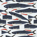 Barracudas sale fish cut seamless pattern Stock Image