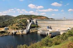 Barrage. Of Alqueva on river Guadiana. Alentejo, Portugal stock photography