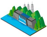 Barrage construit par la rivière illustration stock