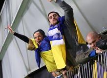 Barrage 2016 d'EURO de l'UEFA pour la finale : La Slovénie v Ukraine Images libres de droits