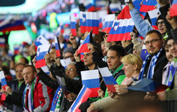 Barrage 2016 d'EURO de l'UEFA pour la finale : La Slovénie v Ukraine Photographie stock libre de droits