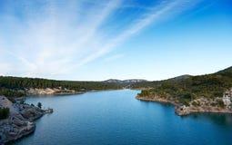 Barrage de Bimont. Dam lake Barrage de Bimont near Aix en Provence and Saint Victoire mountain royalty free stock photo