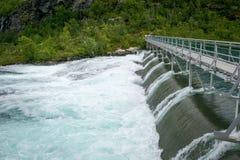 Barrage de cascade de Kjosfossen, Norvège Image libre de droits