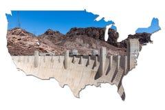 Barrage de Hoover dans la forme des Etats-Unis photo libre de droits