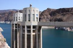 Barrage de Hoover et centrale électrique Etats-Unis d'hydromel de lac Images stock