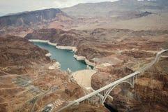 Barrage de Hoover pris de l'hélicoptère Photos stock