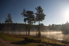 Barrage de poliana de Shiroka avec le brouillard mystique Photo stock